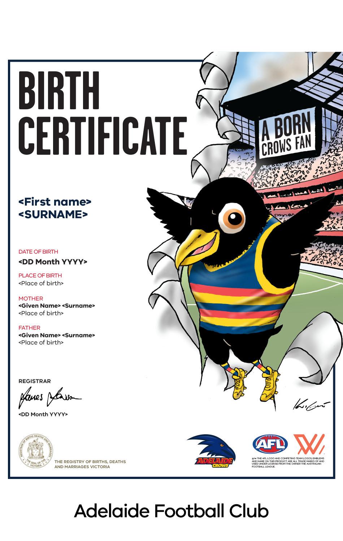 Adelaide Football Club commemorative birth certificate