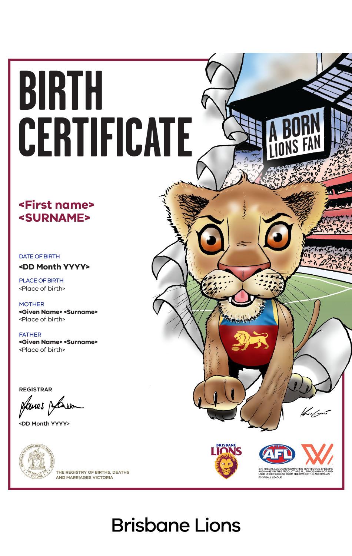 Brisbane Lions commemorative birth certificate