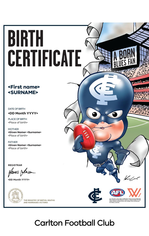 Carlton Football Club commemorative birth certificate