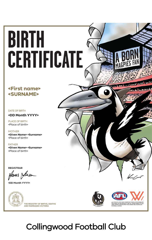 Collingwood Football Club commemorative birth certificate