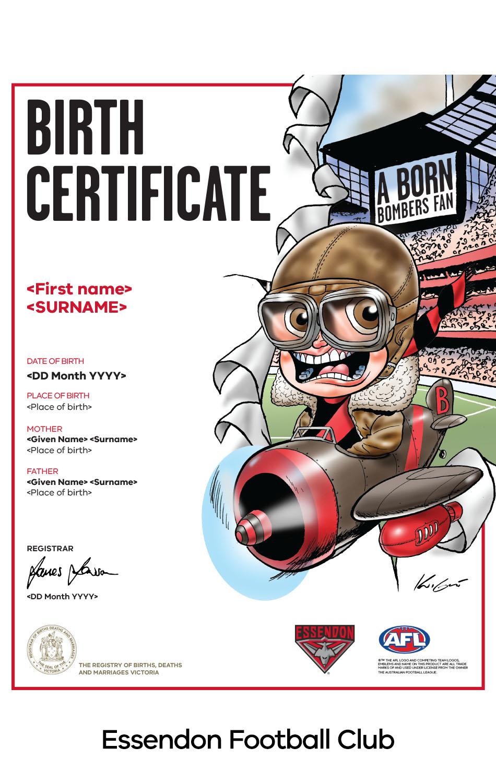 Essendon Football Club commemorative birth certificate