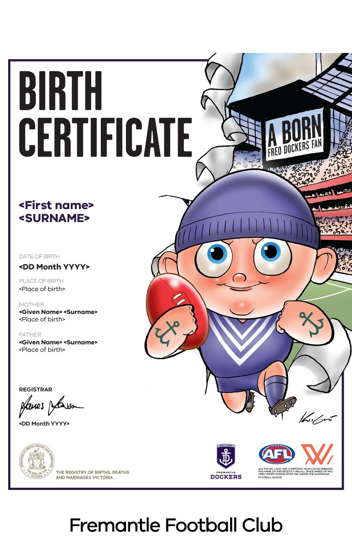Fremantle Football Club commemorative birth certificate