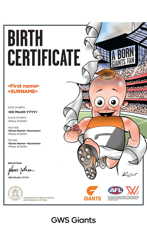 GWS Giants commemorative birth certificate
