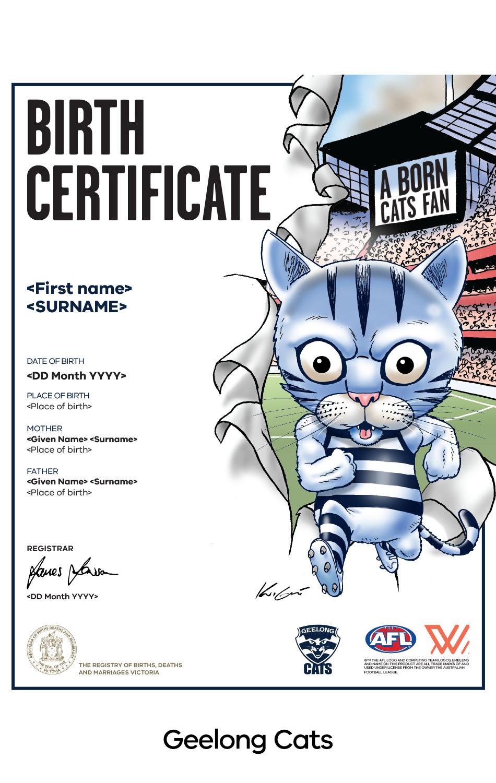 Geelong Cats commemorative birth certificate