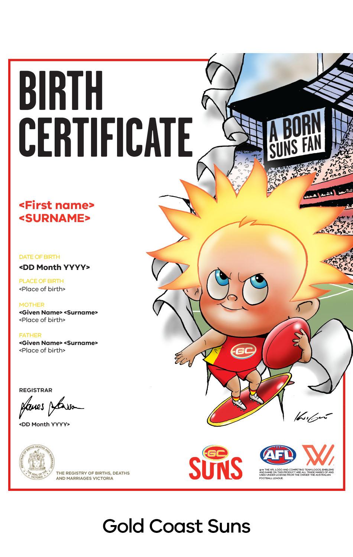 Gold Coast Suns commemorative birth certificate