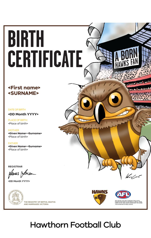 Hawthorn Football Club commemorative birth certificate