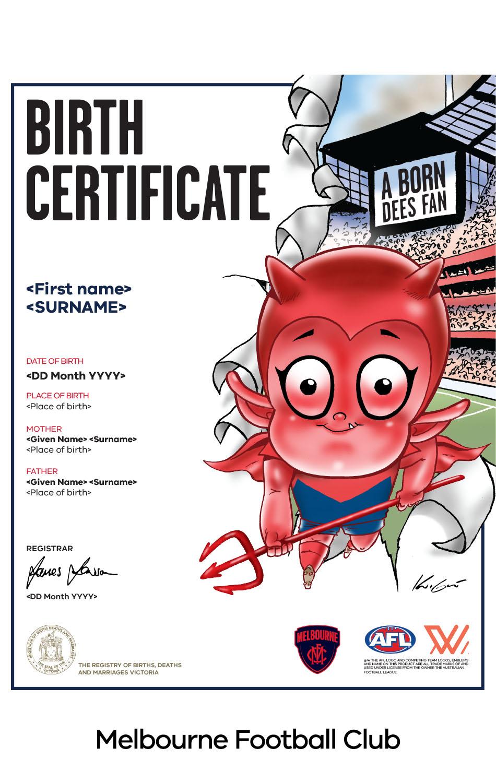Melbourne Football Club commemorative birth certificate