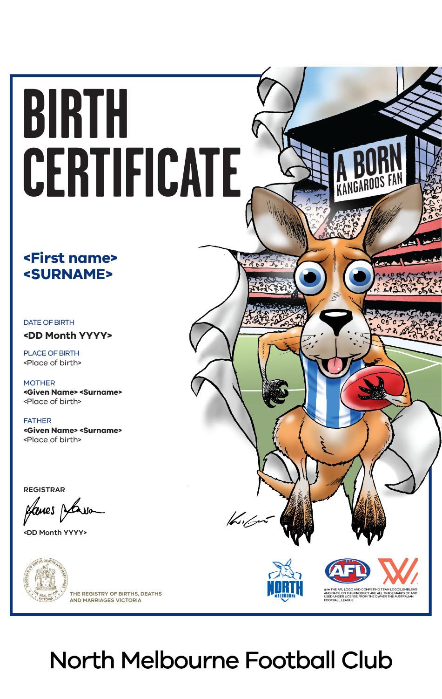 North Melbourne Football Club commemorative birth certificate