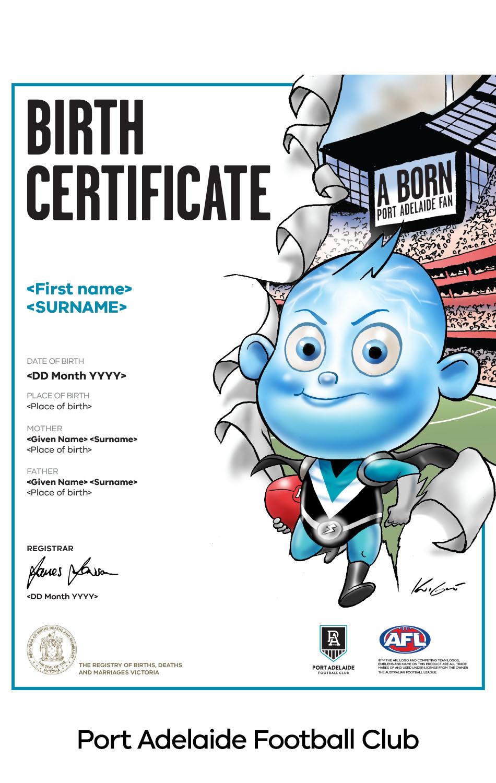 Port Adelaide Football Club commemorative birth certificate