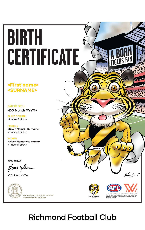 Richmond Football Club commemorative birth certificate