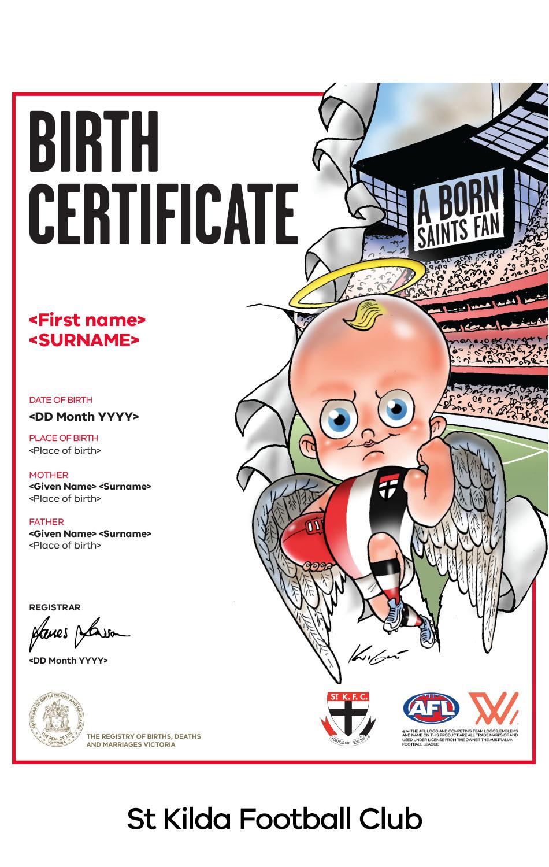 St Kilda Football Club commemorative birth certificate