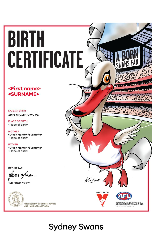 Sydney Swans commemorative birth certificate