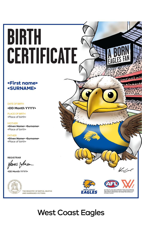 West Coast Eagles commemorative birth certificate