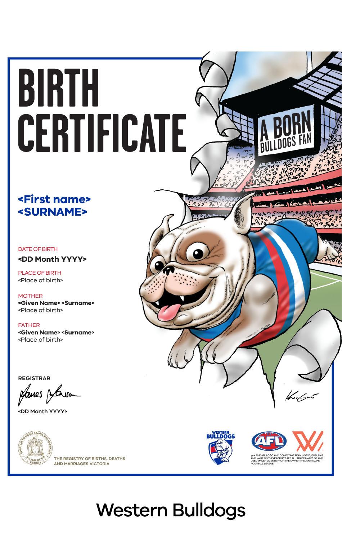 Western Bulldogs commemorative birth certificate