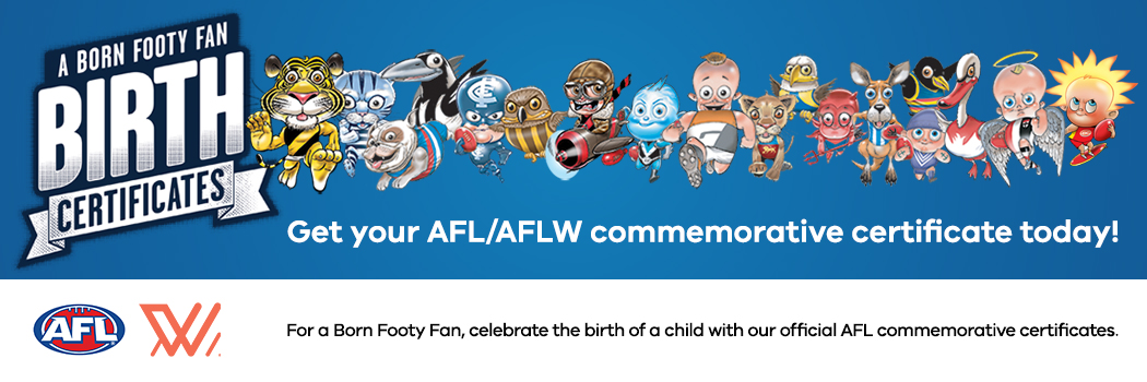 For a born footy fan, celebrate the birth of a child with our official AFL commemorative certificates