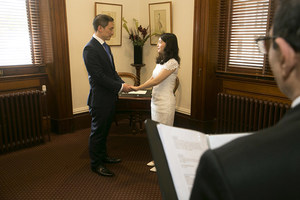 Image of couple getting married in the Thomas Hyde Room at the Old Treasury Building