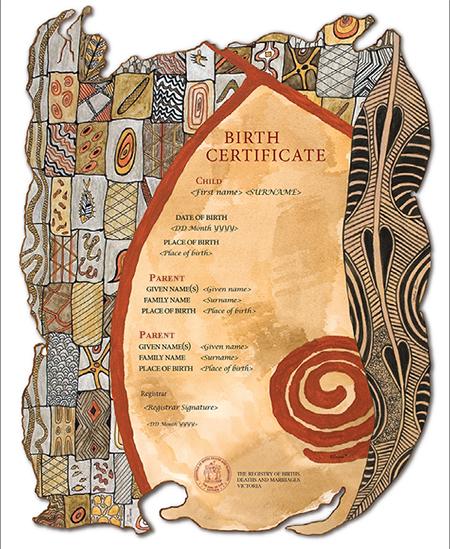 Victorian Aboriginal Heritage commemorative birth certificate