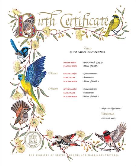 Victorian Birds commemorative certificate