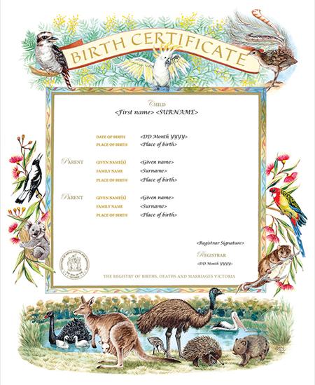 Victorian Fauna commemorative certificate