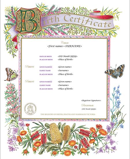 Victorian Flora commemorative certificate