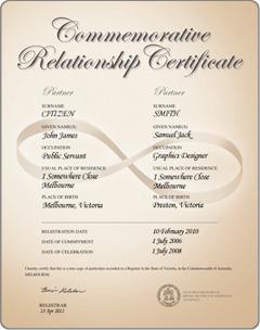Eternity commemorative relationship certificate