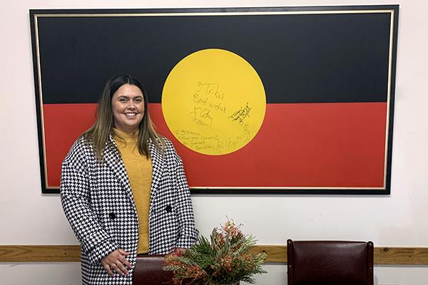Morgan Rudd (Yorta Yorta) attending the Elizabeth Morgan House Aboriginal Women's Service Inc, as part of BDM's Strong identity, strong spirit campaign.