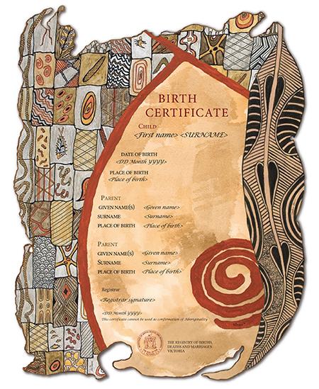 Victorian Aboriginal Heritage commemorative certificate