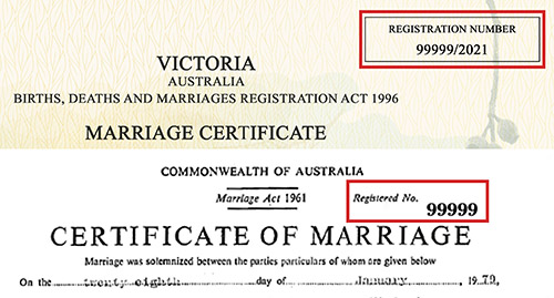 Two examples of marriage certificates, showing the marriage registration number in the top right-hand corner