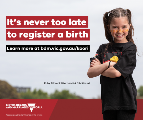 Social media tile: It's never too late to register a birth