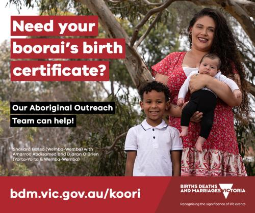 Social media tile: Need your boorai's birth certificate? We can help.
