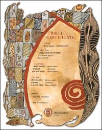 Image of the Victorian Aboriginal commemorative birth certificate, which brings together artwork by three of Victoria's leading indigenous artists