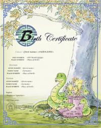 Chinese zodiac Year of the Snake commemorative birth certificate