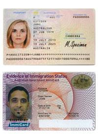 Passport and ImmiCard (evidence of immigration status)